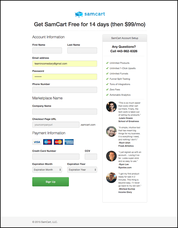 SamCart Checkout Page